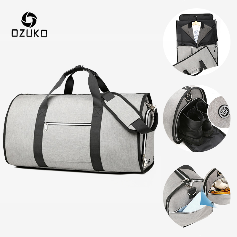 OZUKO Large Capacity Men Travel Bags Multifunction Suit Storage Hand Luggage Bag For Trip Waterproof Duffle Bag With Shoe Pouch