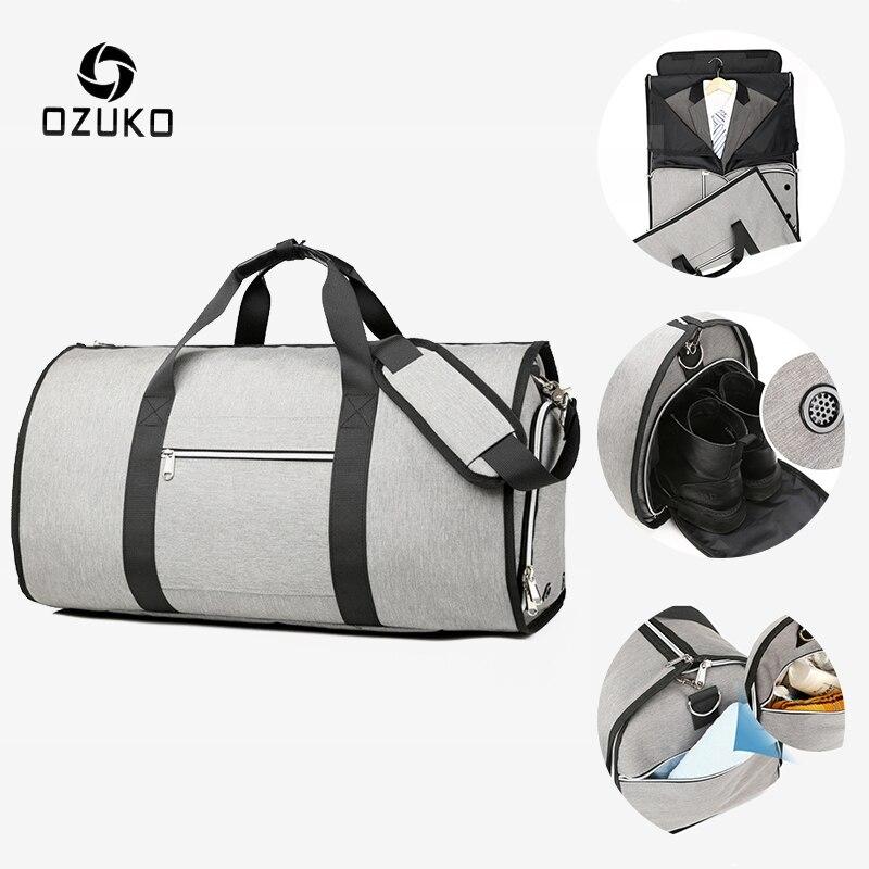 Где купить OZUKO, большая вместительность, мужские дорожные сумки, Многофункциональный костюм, для хранения, ручная багажная сумка для путешествий, водонепроницаемая сумка для вещания с мешочком для обуви