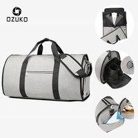 Ozuko Grote Capaciteit Mannen Reistassen Multifunctionele Pak Opslag Hand Bagage Tas Voor Reis Waterdichte Plunjezak Met Schoen Zakje