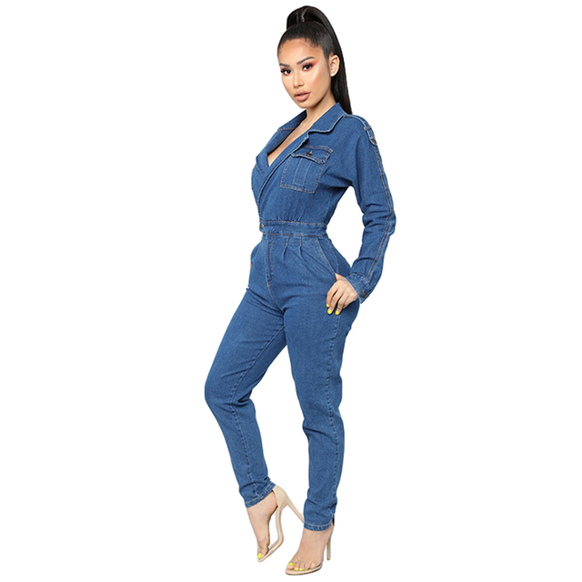 Womens Sexy V-Neck Bodycon Jumpsuit Overalls Club Bodysuit Slim Fit Playsuit Denim Jeans Suit Casual Clothing Trousers Pant New 3