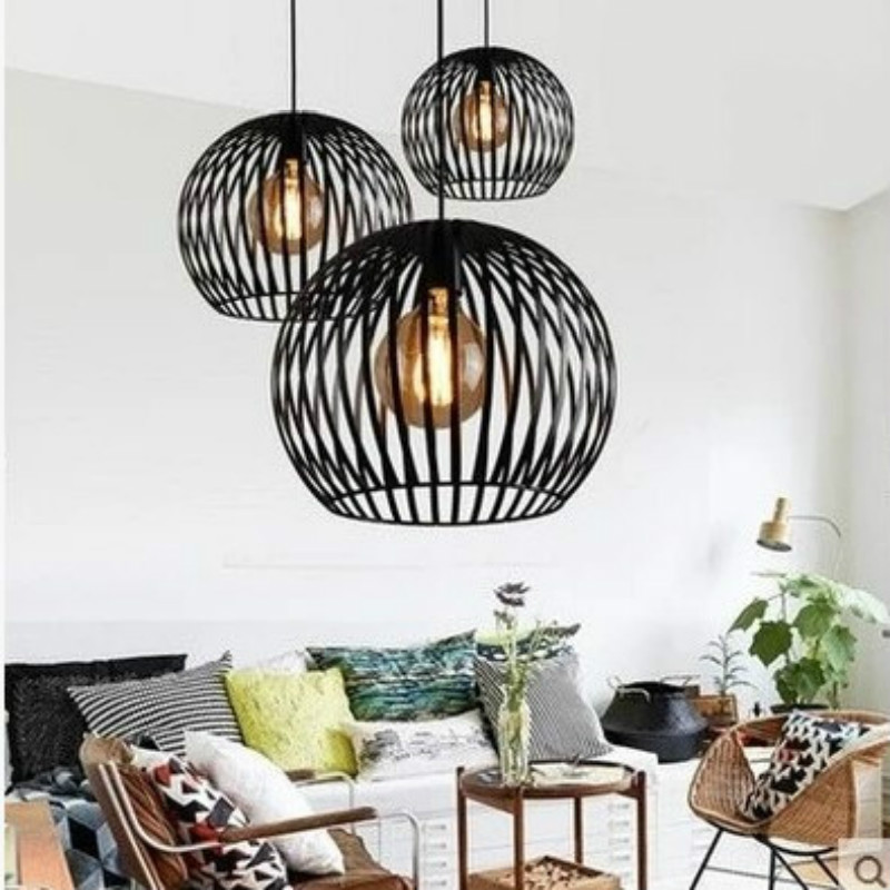 European  Simple Creative  Lamps Vintage Industrial Style Iron Pendant Lights For Restaurant Bar Cafes Living Room YHJ103001