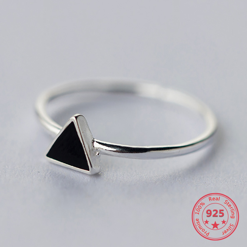 Real 925 Sterling Silver Geometric Black Enamel Triangle OL Adjustable Ring Minimalist Fine Jewelry For Women Party Gift