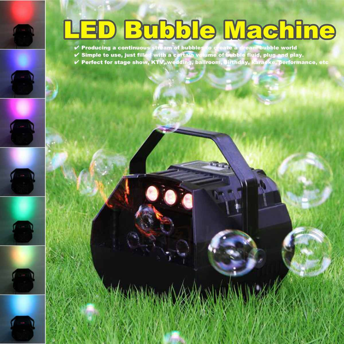 Wireless Remote Control Outdoor Fun Toy LED Automatic  Effect Bubble Machine Wireless Remote Control Party Wedding Decor
