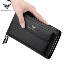 Williampolo Luxury brand Men Clutch Bag Fashion Leather Long Purse Double Zipper Business Wallet Black Male Casual Handy Bag