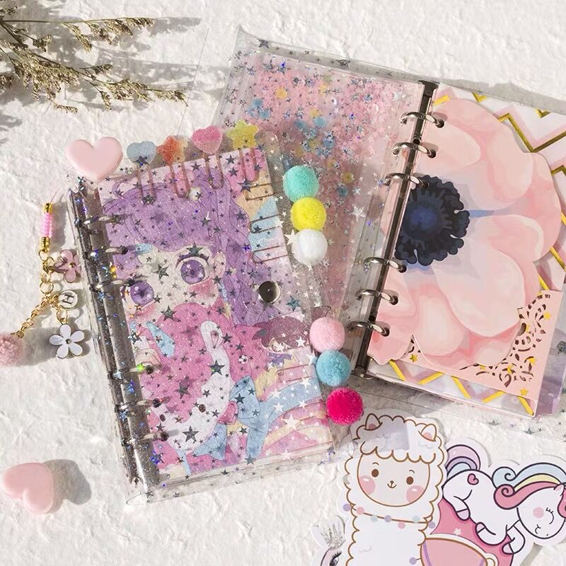 Sharkbang New Arrival Cute Star Bling Bling Gilrs A6 Loose Leaf Diary Notebook Bullet Journal Book Agenda Planner Gift For Girls