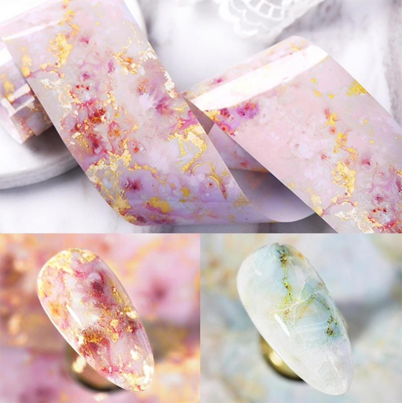 Nail Foils Marble Series Foils Paper Nail Art Transfer Sticker Slide Nail Art Decal Nails Accessories 1 Box