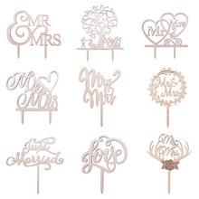 1 Uds pastel de boda Topper madera Mr & Mrs Just decoración de casados novio de la novia DIY decoraciones de pastel de boda suministros de fiesta de compromiso