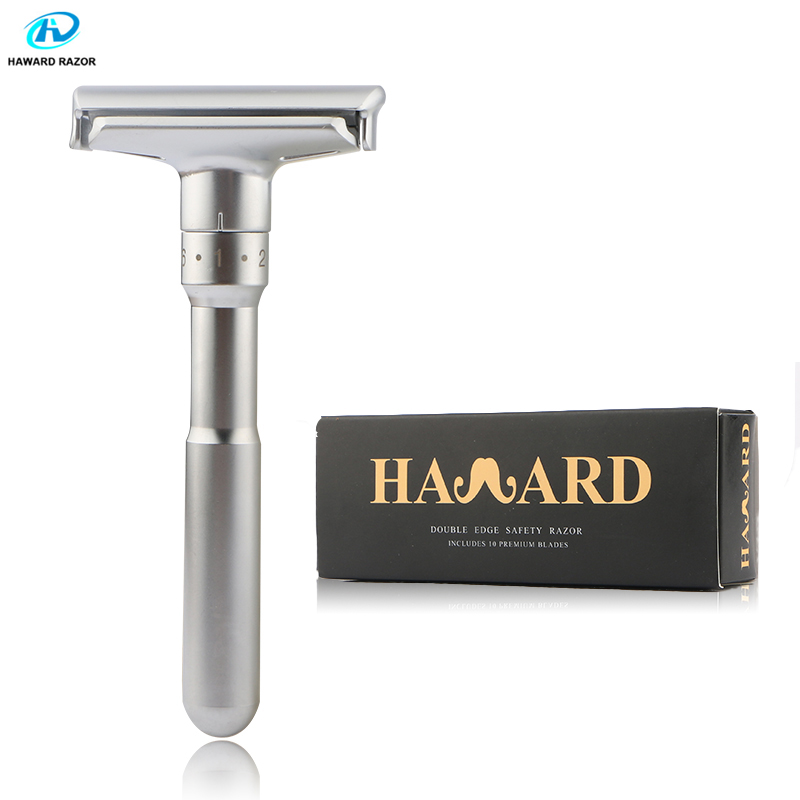 HAWARD Adjustable Shaving Razor Men's Double Edge Safety Razor Classic Manual Shaver Used For Hair Removal (10 Shaving Blades)