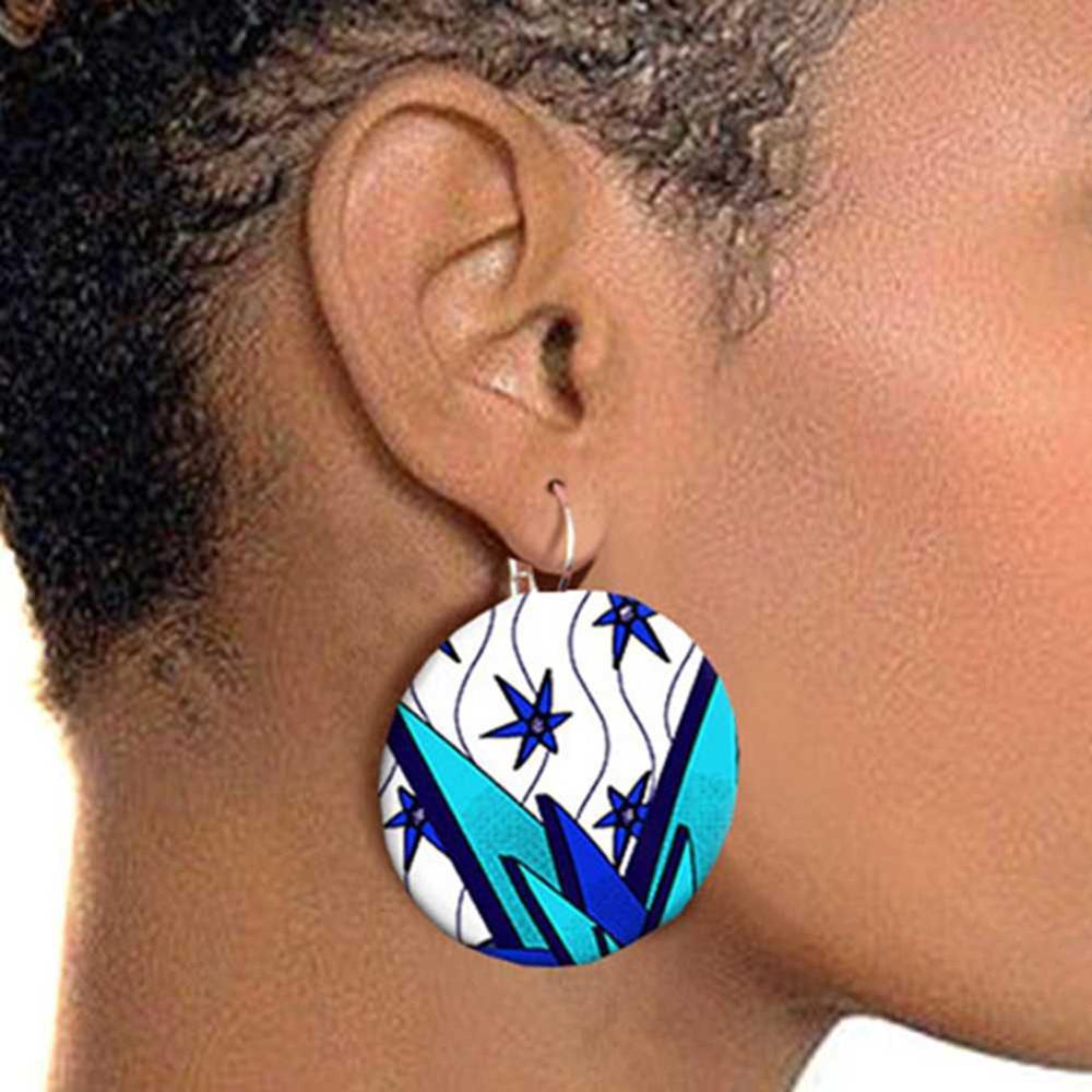 Kureas African Style Earrings For Women 2.9cm Handmade Ethnic Jewelry Ankara Wax Print Afro Ear Pendants Africa Accessory