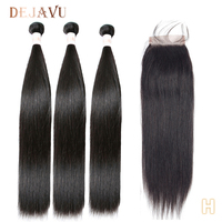 DEJAVU Straight Hair Bundles With Closure Peruvian Hair Bundles With Closure Non Remy Human Hair Bundles Hair Extension Cabelo
