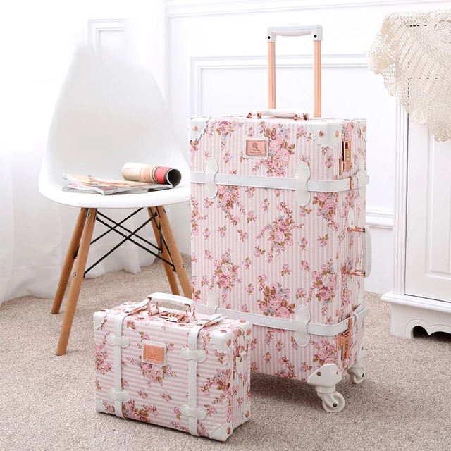 """TRAVEL TALE 20""""24""""26 inch women Retro spinner rolling luggage set trolley floral suitcase trolley bags 3"""