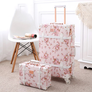 """Image 3 - TRAVEL TALE 20""""24""""26 inch women Retro spinner rolling luggage set trolley floral suitcase trolley bags"""