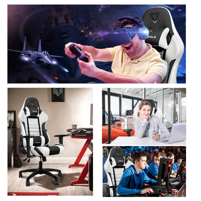 Furgle Gaming Chairs Office Chair Computer Chair with High-back Synthetic Leather Internet Chair Racing Chair for Desk Chair 6