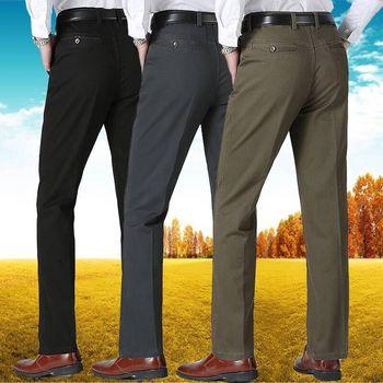 men dress pants 2020 Spring Autumn Thick Men's Business Casual Pants Straight High Waist Cotton Man Trousers Classic Suit Pants