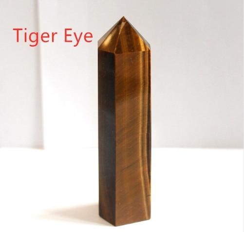 24 камень точка набор башня Wicca Исцеление Кристалл шестиугольник природные минералы волшебная палочка домашний декор аметист розовый кварц - Цвет: Tiger Eye