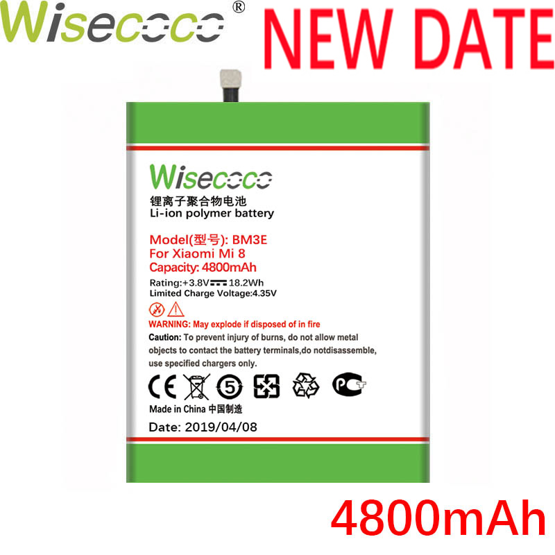 Wisecoco BM3E 4800mAh New Production Battery For Xiaomi Mi 8 Mi8 M 8 M8 Phone High Quality Repair Replacement+Tracking Number