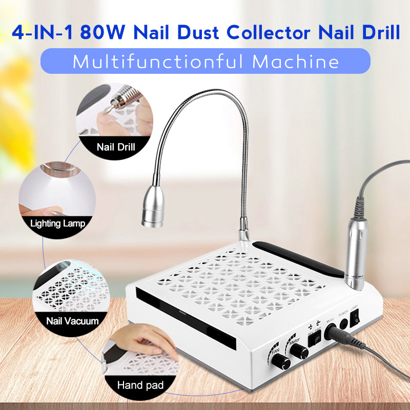 4-IN-1 Vacuum Cleaner For Manicure Nail Drills Strong Power Lighting Lamp Manicure Tools Equipment Nail Dust Collector Machine