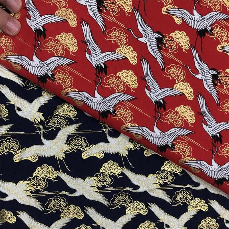 150 см ширина 20S японское кимоно хлопок цветок золото передачи печати ткань одежда, ремесла аксессуары BH10