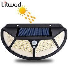 Lámpara Led de pared para exterior de luz Solar con 3 modos de movimiento, farola con Sensor PIR, SMD2835, 102, batería integrada, resistente al agua