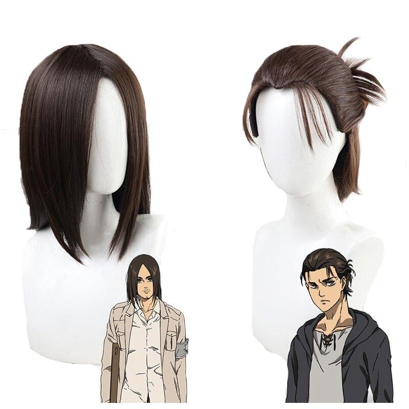 O ataque final temporada em titan eren jaeger peruca cosplay marrom resistente ao calor do cabelo sintético 2 tipos perucas + peruca boné