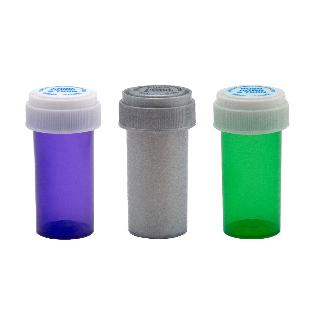 HORNET 13 Dram Push Down & Turn Vial Container Acrylic Plastic Storage Stash Jar Pill Bottle Case Box Herb Container Pocket Size
