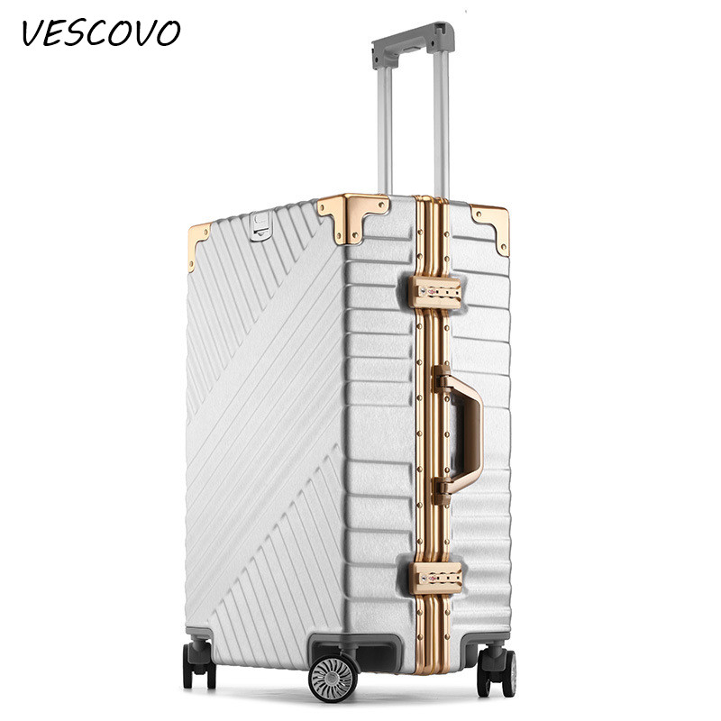 VESCOVO Aluminum frame trolley suitcases ABS+PC rolling luggage spinner on wheel men women 20inch boarding box 24