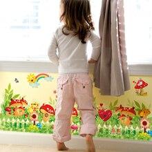 [shijuekongjian] Cartoon Mushrooms Baseboard Stickers DIY Rainbow Animals Flowers Wall Art for Kids Room Baby Bedroom Decoration звонок дверной светозар любимая мелодия 58075
