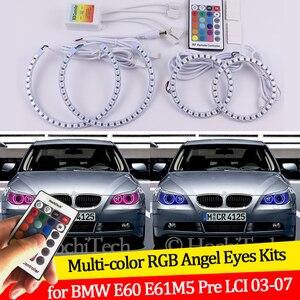 Para BMW E60 E61 520i 525i 530i 540i 545i 550i Pre LCI 2003-2007 16 colores RGB Ojos de Ángel LED Halo anillos RF Control DRL inalámbrico