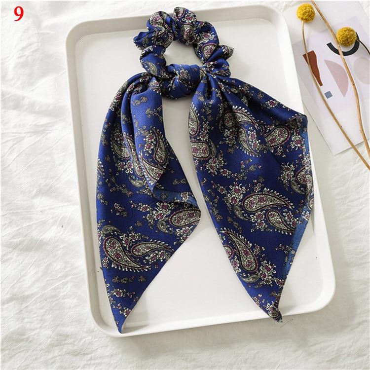Элегантные резинки для волос с большим цветком и леопардовым принтом; эластичные резинки для волос для женщин и девочек; завязанные длинные резинки; шарф; аксессуары для волос - Цвет: A9