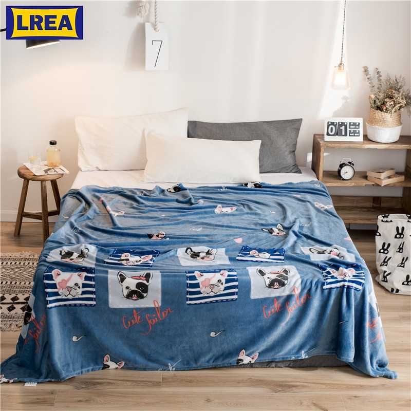 LREA Animal Cartoon плед fleece Throw Blanket for Kids Bedspread Bulldog Sofa Cover 1pc winter decorations for home