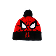 Winter Children Spiderman Coarse Needle Jacquard Embroidered Wool Ball Knitted Hat Knitted Gloves