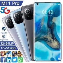 Teléfono Inteligente M11 Pro, 7,3 pulgadas, 16 + 512G, Android, 32MP + 64MP, Batería grande de iones de litio de 6800Mah, versión Global, Galaxy