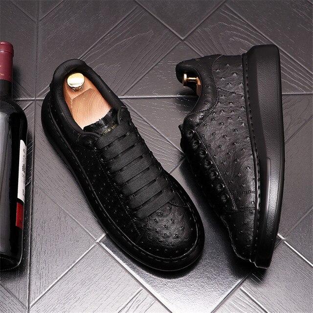 Ostrich-Zapatillas de cuero de lujo para Hombre, zapatos planos informales con plataforma creciente de altura, estilo Hip Hop 5