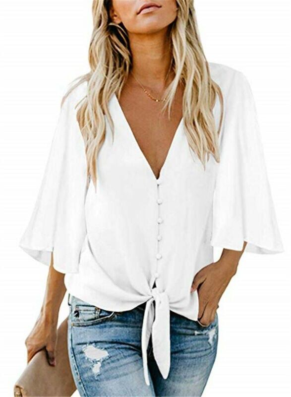 Soild Элегантная блузка с v-образным вырезом для женщин с поясом, плиссированный с запахом, рукав колокол, топ 2019, женские топы, Женские Летние О...