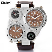 Oulm Military Watch Men Double Time Zone Japan Quartz Movement Sports Watches Men's Wristwatches Male Clock Relogios masculino|Quartz Watches|   -