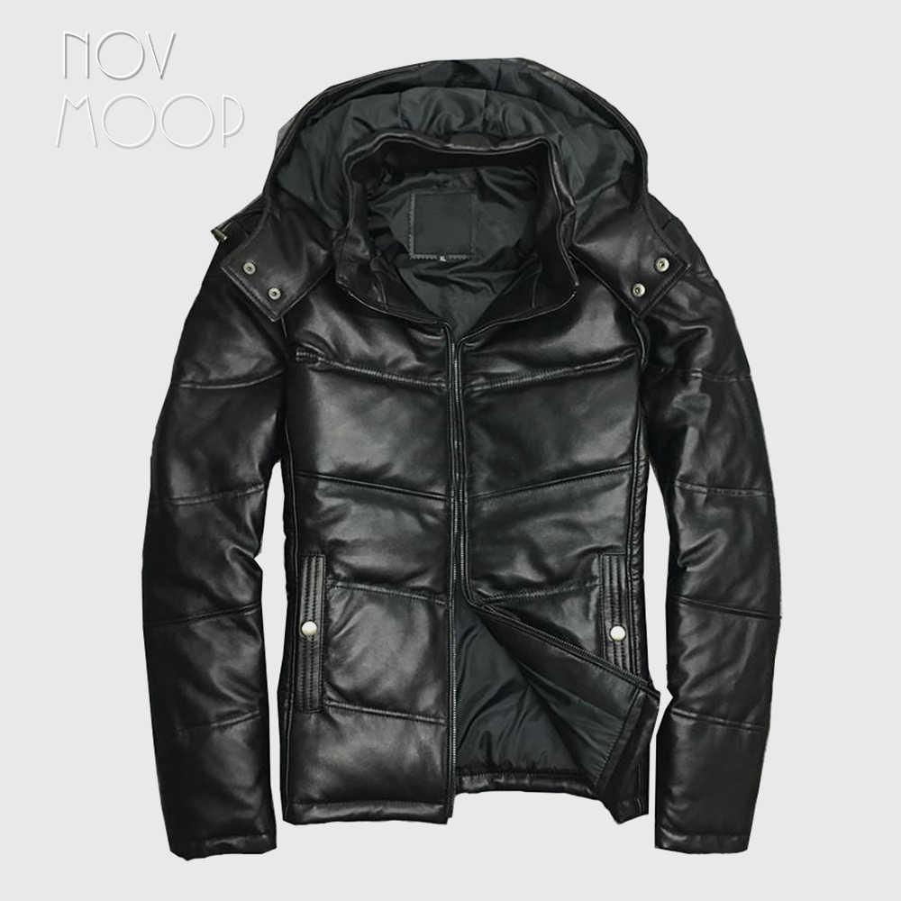 Novmoop 2019 ファッション冬の厚手帽子着脱式アヒルダウンジャケット男性本革ジャケット kurtka zimowa plaszcz LT2832