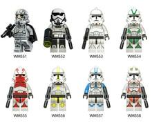 костюм клона командора коди star wars 36 38 Star Wars Construction Blocks Toys 8pcs New Wm6036 Star Wars Minion Stormwind Clone Soldier Quick Selling Popular  Block