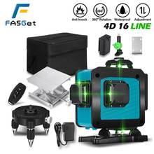 Лазерный уровень FASGet 4D, 16 линий, 360 градусов, горизонтальный, вертикальный, перекрестсветильник