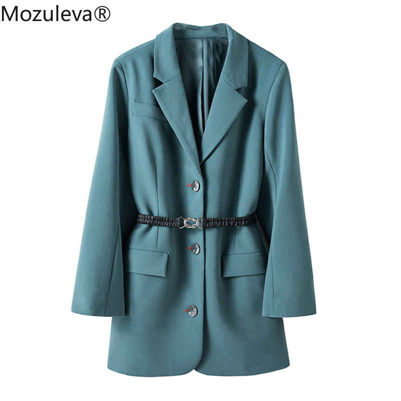 Mozuleva 2020 Elegant Loose Women Blazer Spring Notched Collar Outerwear Blaser Sashes Single-breasted Female Suit Jacket Femme