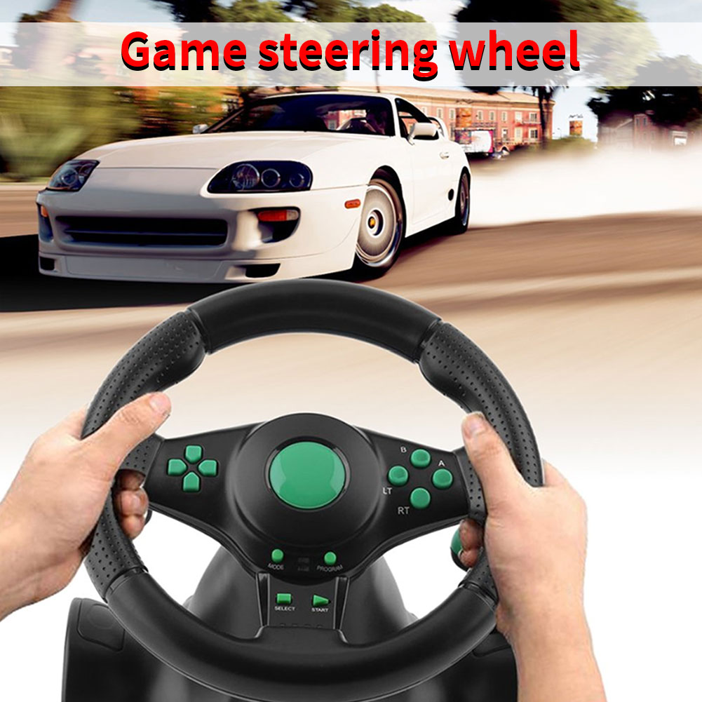 Racing Game Pad 180 Degree Steering Wheel Vibration Joysticks With Foldable Pedal For Xbox 360 Ps2 For Ps3 One All-in-one image
