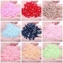 Wszystkie kolory półokrągłe perły z tworzywa sztucznego Rhinestone Crystal bez mocowania na gorąco płaskie plecy Nail Art dżetów i tworzenia biżuterii