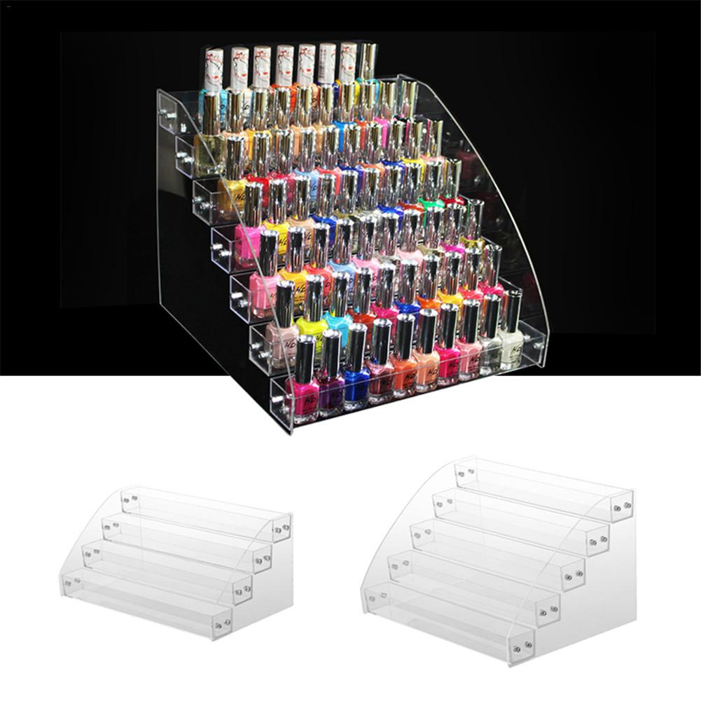 2-7 Layers Optional Rack Acrylic Clear Nail Polish Display Cosmetic Varnish Organizer Stand Holder Manicure Tool Storage Box