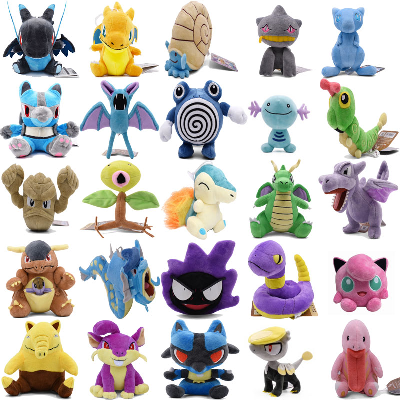 Mega Charizard X&Y Omanyte Mew Caterpie Wooper Poliwhirl Zubat Lucario Aerodactyl Geodude Animal Plush Stuffed Toys For Children