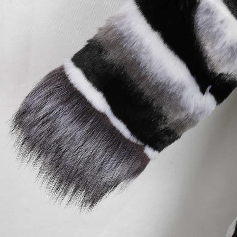 Nerazzurri Winter extra lange chinchilla pelzmantel mit fuchs pelz trim langarm warme große größe britischen stil faux pelz mantel 5xl 6xl