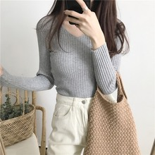 Women Sweater Female Long Sleeve Fashion Casual V-Neck Sweaters Slim Fit