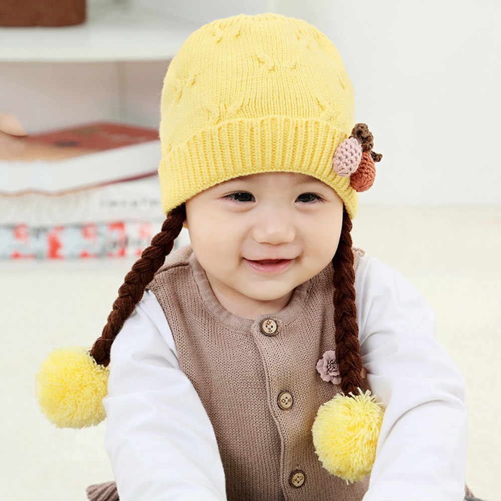 New Arrival Baby Hat for Girl Boy 2019 Winter Hat for children Soft Warm Beanie Braid Hairball Hats Crochet Knit Baby Cap L50599