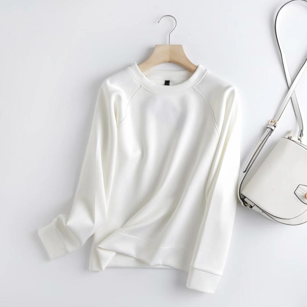 Withered 2020 Winter Hoodies Women England Style Fashion O-neck Causal White Color Solid Simple Loose Sweatshirt Pullovers Tops 8