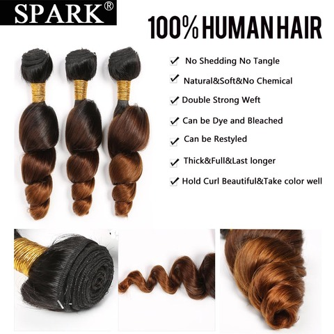 Spark Ombre Malaysian Loose Wave Human Hair 3/4 Bundles with Closure 4*4 Free Part Remy Hair Extension Free Middle Part 1B/4/30 Multan