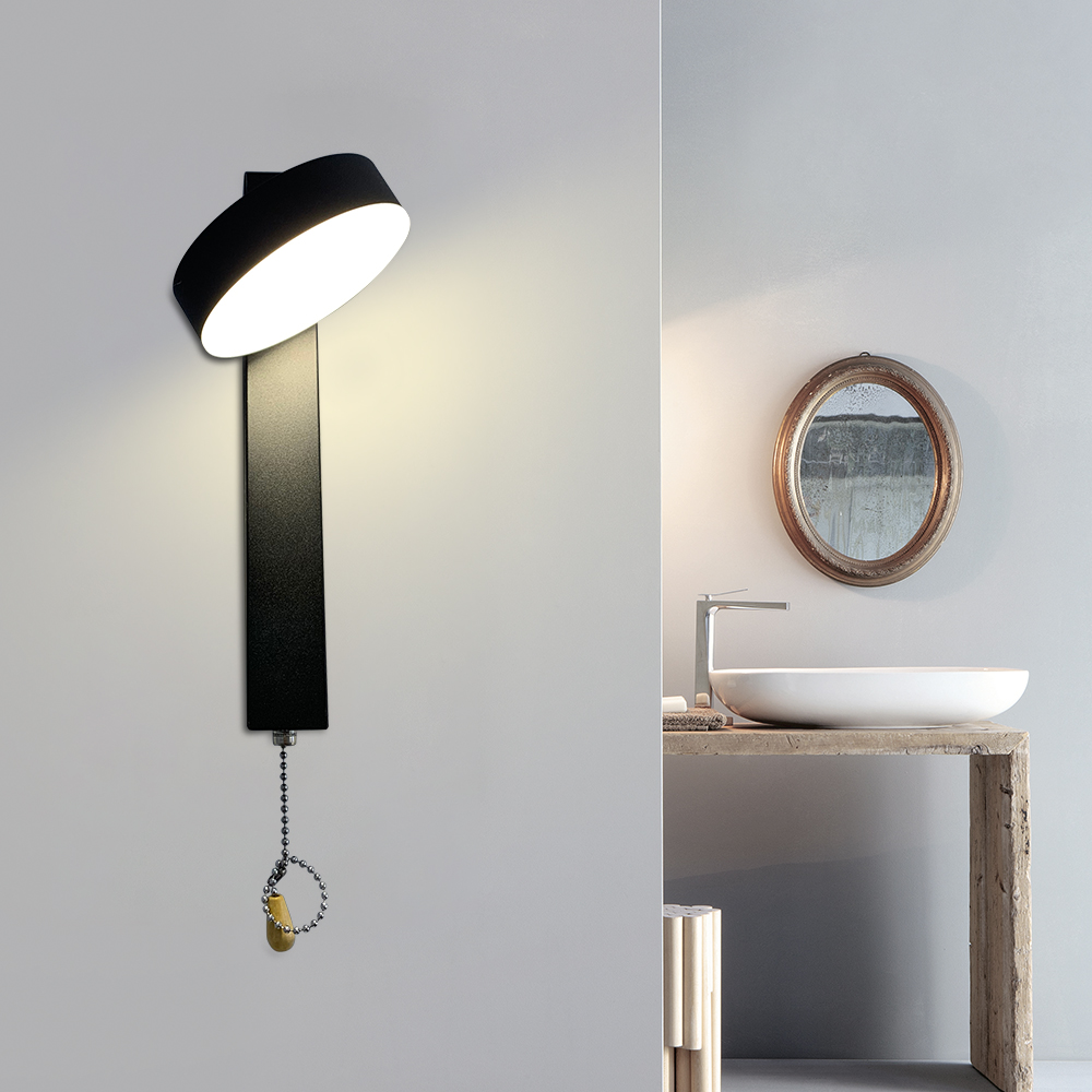 Modern Led Indoor Wall Lamps 360 Rotation Lamp Head Wall Light With Switch Stair Bedroom Deco 3 Lighting Color Wall Sconce 7w Led Indoor Wall Lamps Aliexpress