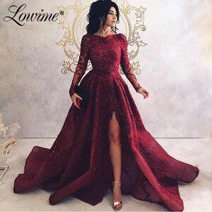 Image 1 - Турецкое вечернее платье с длинными рукавами и аппликацией на заказ, длинные платья с высоким разрезом сбоку для выпускного вечера, 2020
